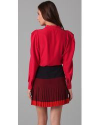Parker Red Tie Front Blouse