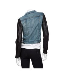 Rag & Bone - Blue Exclusive Leather Sleeve Denim Jacket - Lyst