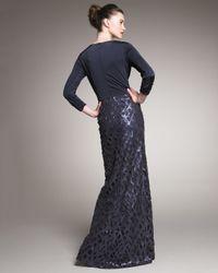 Tadashi Shoji - Blue Sequin-skirt Draped Gown - Lyst