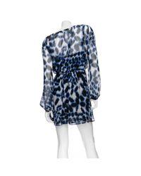 Twelfth Street Cynthia Vincent Blue Chiffon Cross Front Dress