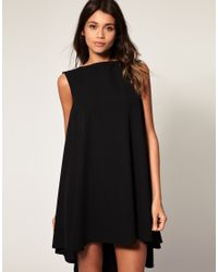 ASOS Collection | Black Asos Swing Dress with Dipped Hem | Lyst