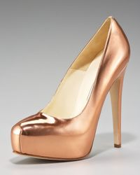 Brian Atwood Maniac Metallic Pump, Rose Gold