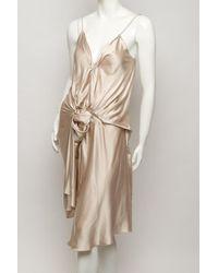 Lanvin - Natural Draped Slip Dress - Lyst