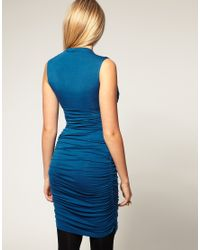 ASOS Collection - Blue Asos Maternity Exclusive Dress with Ruched Wrap Bust - Lyst