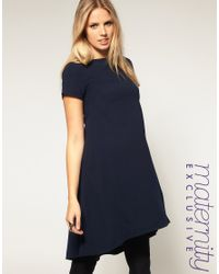 ASOS Collection - Blue Asos Maternity Exclusive Swing Dress with Dipped Hem - Lyst