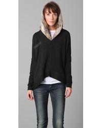 Dolan - Gray Fur Hood Pullover - Lyst