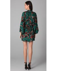 Issa Green Long Sleeve Print Kimono Dress