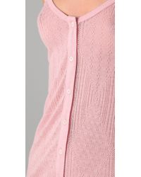 Juicy Couture Pink Pointelle Button Down Cami