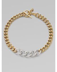 Michael Kors - Metallic Chunky Embellished Two-tone Chain Link Necklace - Lyst