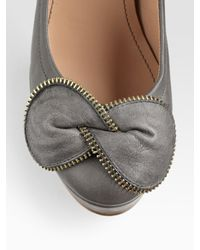 See By Chloé | Gray Zip Bow Trim Pump | Lyst