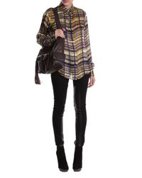 Suno | Brown Plaid Silk-satin Shirt | Lyst