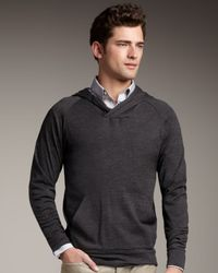Theory - Gray Wool Hoodie for Men - Lyst