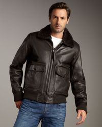 Andrew Marc - Brown Shearling-collar Bomber Jacket - Lyst