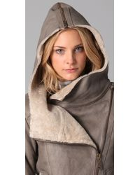 Doma Leather - Gray Shearling Jacket - Lyst
