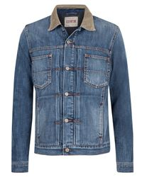Edwin | Blue Vintage Wash Cord Collar Denim Work Jacket for Men | Lyst