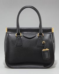 Prada | Black Saffiano Lux Top Handle Frame Tote | Lyst