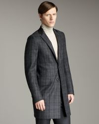 Valentino Gray Leather-lapel Plaid Topcoat for men