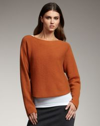 Vince Brown Cropped Knit Sweater, Rust