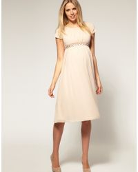 ASOS Collection - Pink Asos Maternity Midi Dress with Embellishment - Lyst