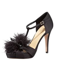 kate spade new york Black Gambol Satin and Feather Tstrap Sandals