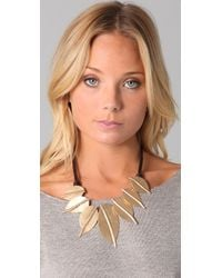Kenneth Jay Lane Metallic Gold Leaf Leather Cord Necklace