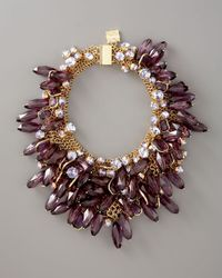 MILLY Metallic Crystal & Bead Collar Necklace