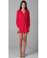 Parker | Red Faux Wrap Dress | Lyst