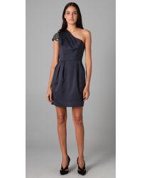 Shoshanna - Gray Starry Night One Shoulder Dress - Lyst