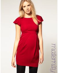 ASOS Collection   Red Asos Maternity Tulip Dress with Fluted Sleeve   Lyst