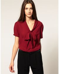ASOS Collection - Red Asos Pussybow Short Sleeve Blouse - Lyst