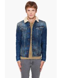 DIESEL - Blue Faux Fur-lined Denim Jacket for Men - Lyst