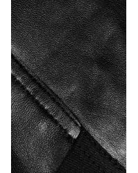 Max Azria | Black Cotton-paneled Leather Jacket | Lyst