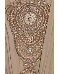 Thurley - Natural Crystal-embellished Silk-chiffon Dress - Lyst