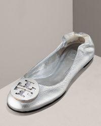 Tory Burch | Metallic Reva Logo Ballet Flat | Lyst