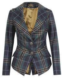 Vivienne Westwood Anglomania | Blue Green Jabot Tartan Jacket | Lyst