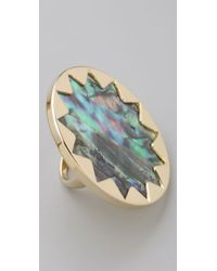 House of Harlow 1960 Multicolor Abalone Sunburst Cocktail Ring