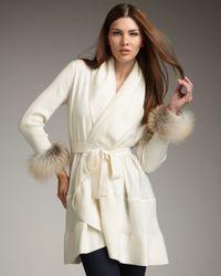Neiman Marcus | White Fur-cuff Cashmere Cardigan | Lyst