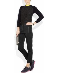 Tibi   Black Leather-trimmed Stretch Satin-twill Pants   Lyst
