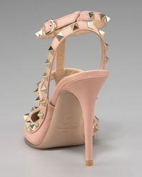 Valentino - Pink Rockstud Leather Runway Pump - Lyst