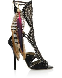 Jimmy Choo - Black Kevan Woven Leather and Suede Sandals - Lyst
