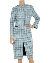 Carolina Herrera - Blue Plaid Cotton-blend Coat - Lyst