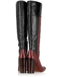 Tory Burch Blue Alicia Color-block Leather Boots