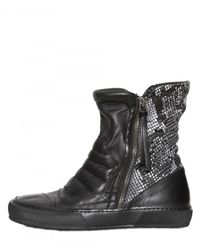 BB Bruno Bordese - Black Python Print Calfskin High Top Sneakers - Lyst