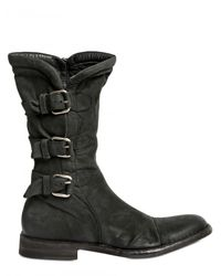BB Bruno Bordese - Black Waxed Calfskin Belted Boots for Men - Lyst