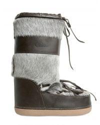Chloé | Gray Calf Fur Moon Boot Boots | Lyst