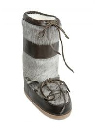 Chloé | Green Calf Fur Moon Boot Boots | Lyst