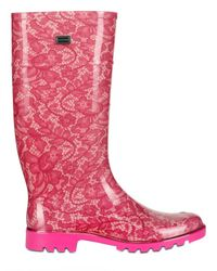 Dolce & Gabbana | Pink Rubber Lace Boots | Lyst