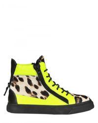 Giuseppe Zanotti | Multicolor Ponyskin Leopard Print High Top Sneakers | Lyst
