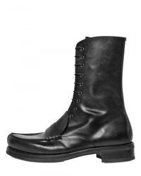 Jil Sander - Black Brushed Calfskin Loafer Boots for Men - Lyst