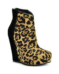 Kelsi Dagger Brooklyn | Multicolor Huette - Leopard Printed Pony Hair Wedge Bootie | Lyst